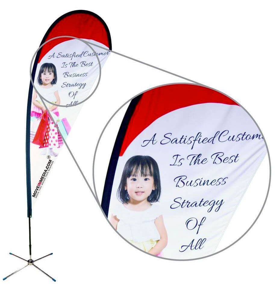 Example of full color printed teardrop banner