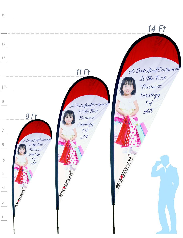 Teardrop flag size measurements